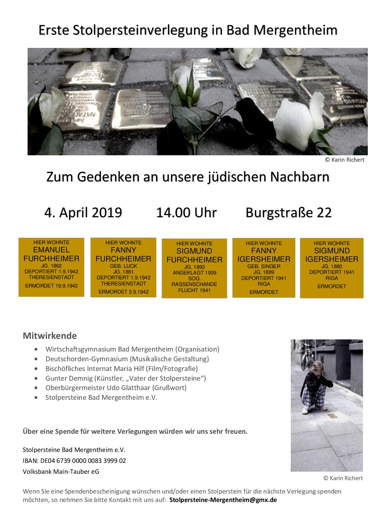 Erste Stolpersteinverlegung in Bad Mergentheim